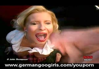 sexy german milf takes a sperm shower!