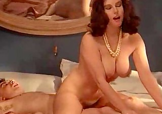 Retro busty MILF enjoys forbidden cock