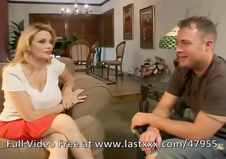 busty blonde mom goes for her daughters boyfriend