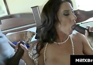 breasty brunette mom gives blowjob in interracial