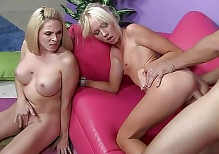 Hot mom with her daughter shares fresh sperm