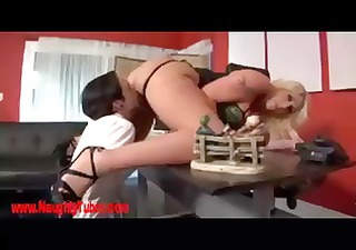 Blonde MILF manager makes her male secretary suck