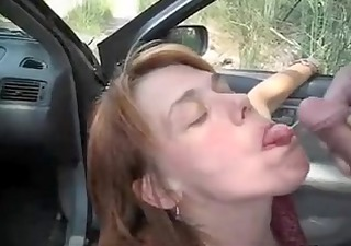 car oral-service fun and sperm flow with a mother